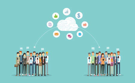 business connection on cloud.business communication.business online network.Group  people business