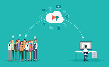 デジタル マーケティング接続オンライン concept.marketing 雲の上。Line.group の人々 のビジネスを発表します。