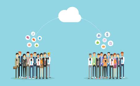 hablando por telefono: la comunicación y la gente de negocios on-line.business conexión de la gente de negocios cloud.group
