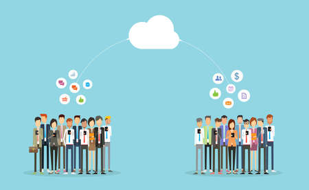 business connection: people business communication and connection on-line.business on cloud.group people business Illustration