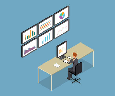 analytic: business people analytic on monitor graph report  and SEO on web.flat 3D vector .workplace.office.business man .finance and investment .stock money.business research