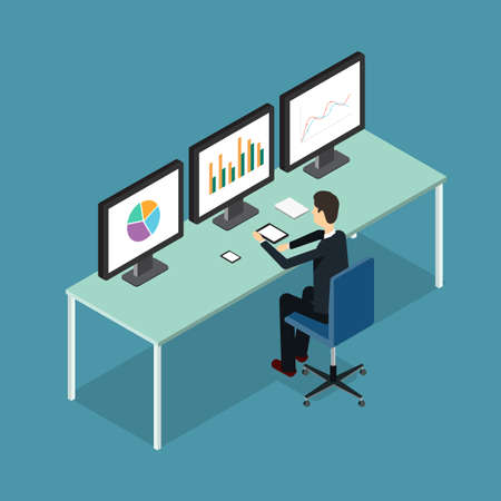 working people: analytic monitor Illustration