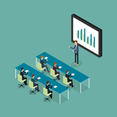 business conference and presentation on finance graph report .  Illustration
