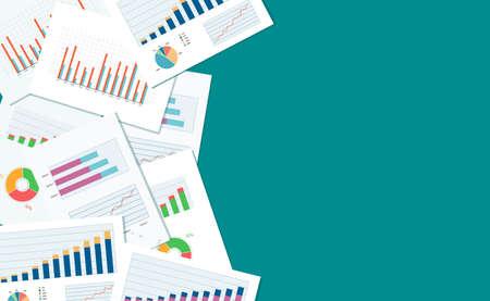 contaduria: financiación de las empresas y la bandera de la inversión y el dispositivo móvil para paper.graph business.report analizan bandera background.web