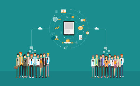 social business connection on mobile .business  on-line marketing .business network .cloud network .group people. business communication .mobile connected concept
