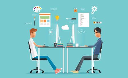 grafisch ontwerp en web developer werkt op de werkplek. te ontwikkelen voor de website en applicatie