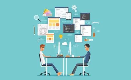 projektowanie graficzne i web developer pracuje na stanowisku pracy. opracować dla strony internetowej i aplikacji Ilustracje wektorowe