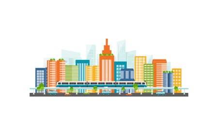Capital.downtown.electric train. transportation. color full building