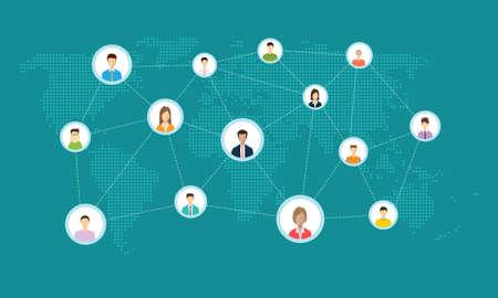 biznes społecznościowy koncepcji połączenia on-line Ilustracje wektorowe