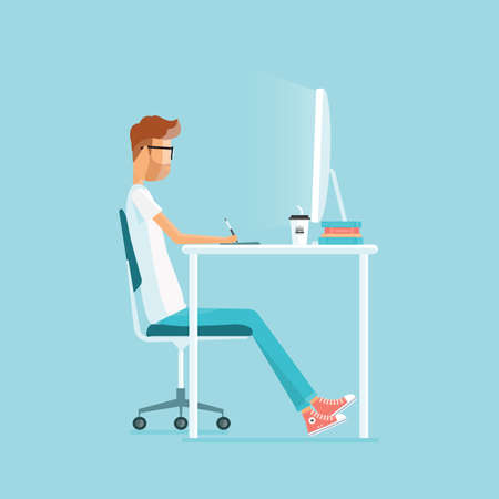 working in office: freelance working on workplace. web design. business character.people working in office Illustration