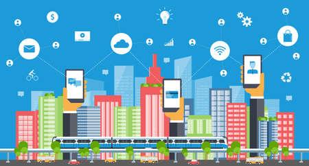 business smart city.internet connection.social concept Imagens - 53511706