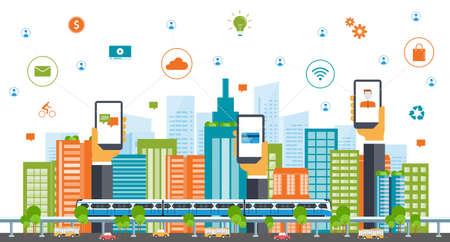 概念: 商業智能city.internet connection.social概念