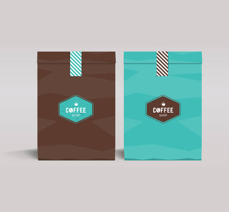 lunch: two color paper packaging mock up. coffee shop and restaurant.