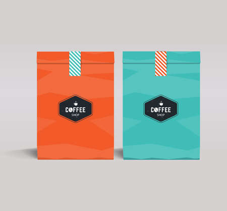 mock up: two color paper packaging mock up. coffee shop and restaurant.