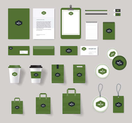 display: corporate branding identity mock up template for coffee shop and restaurant. badge coffee