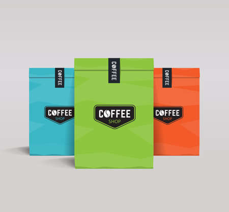three color paper packaging mock up. coffee shop and restaurant.