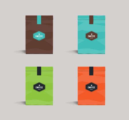 illustration editable: set color paper packaging mock up. coffee shop and restaurant.