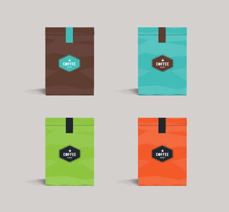 set color paper packaging mock up. coffee shop and restaurant.