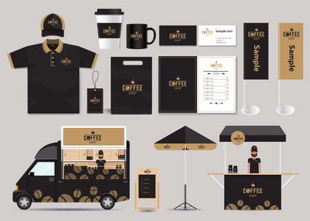 identity: concept for coffee shop and restaurant identity mock up template. card .menu.polo shirt.