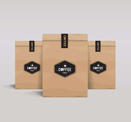 identity: paper packaging mock up. coffee shop and restaurant. Illustration