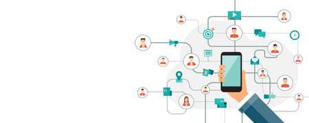 les gens d'affaires de connexion en ligne. concept de mobile en ligne
