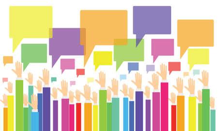 zakelijke vote.business advies en commentaar .business mensen brainstorming .colorful bedrijfsleven hand