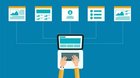 kết cấu: kinh doanh thiết kế kết cấu nội dung .web trực tuyến và bố trí.