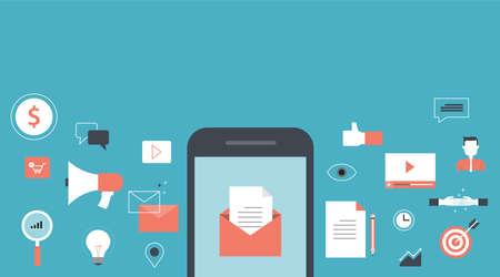 correo electronico: bandera para el correo electrónico de negocios contenido de marketing