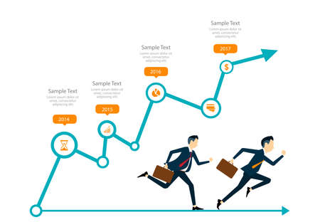 competitive: two business man competitive with business on info graph. infographic