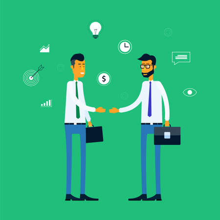 business meeting: two business man meeting concept and business partnership deal to business Illustration