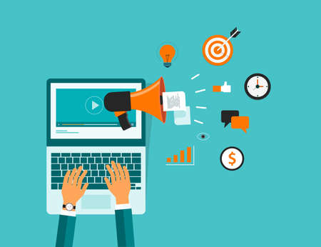programing: business on line video marketing content.and technology video marketing concept Illustration