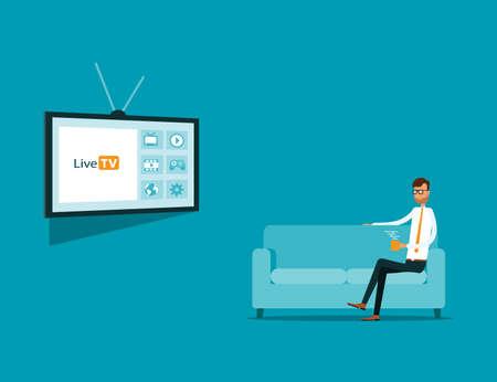 negocios viendo la televisión en línea en el sofá