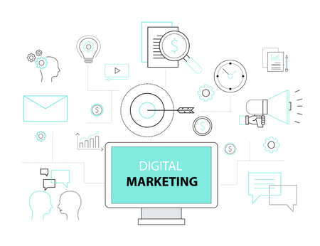 digital marketing: business digital marketing concept Illustration