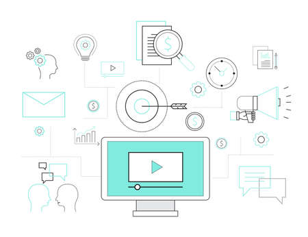 programing: video advertise online concept