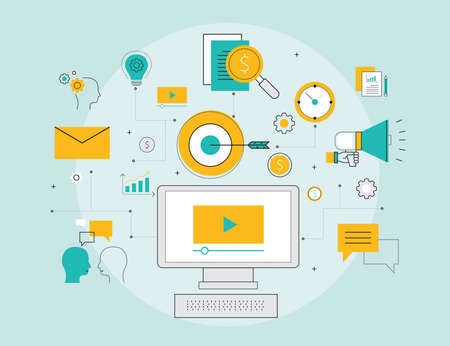 programing: business video marketing online concept and digital content concept