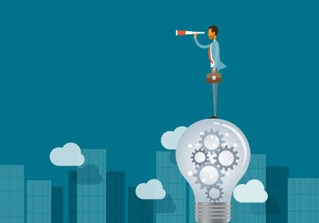 vision concept: business vision concept and business man standing on lightbulbs Illustration