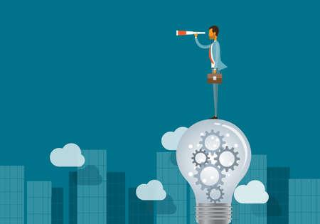 competencias laborales: concepto de visión de negocio y hombre de negocios de pie sobre las bombillas