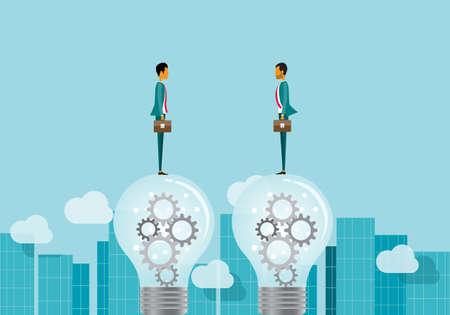 two business talking on lightbulbs