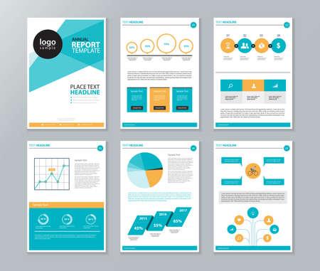 bedrijfsprofiel, jaarverslag, brochure, flyer, pagina-indeling sjabloon en informatie grafiek element template