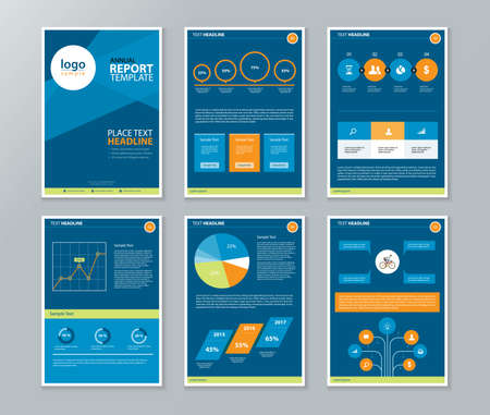 annual report: company profile ,annual report , brochure , flyer, page layout template,and business info chart element template