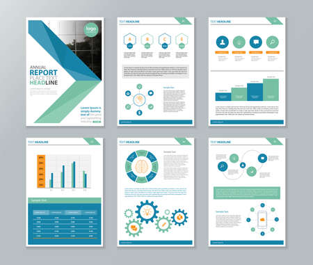 company profile ,annual report , brochure , flyer, page layout template,and business info chart element template Stock Vector - 58540499