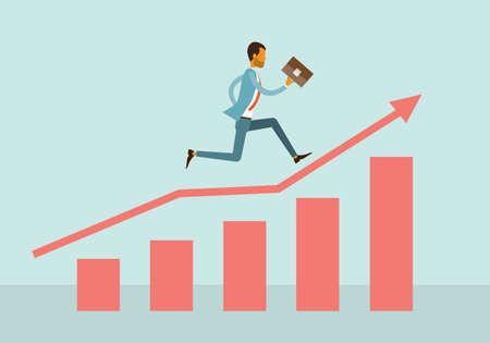 hombre de negocios competitivo con el concepto gráfico de negocio