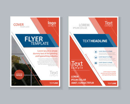 two page: two page brochure, flyer ,report Layout design template, and cover design for business
