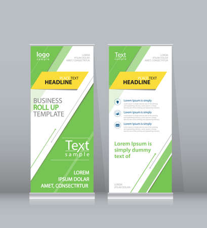 stand display: green roll up , x stand display design template for business Illustration