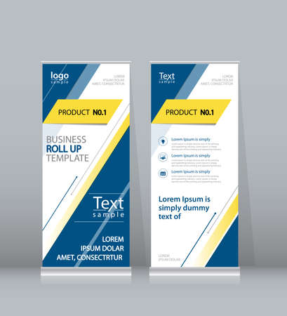 display: roll up , x stand display design template for business Illustration