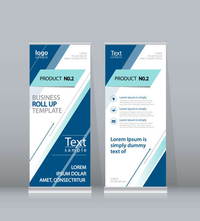 x stand: blue roll up , x stand display design template for business
