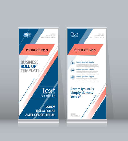 stand display: blue roll up , x stand display design template for business