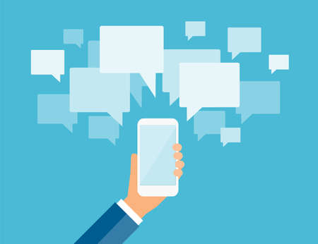 business communication: business mobile communication and social connection concept