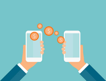 money transfer: business money transfer on mobile and business e payment concept Illustration