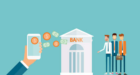 transfer: business money transfer on mobile and business mobile banking concept ans e payment concept